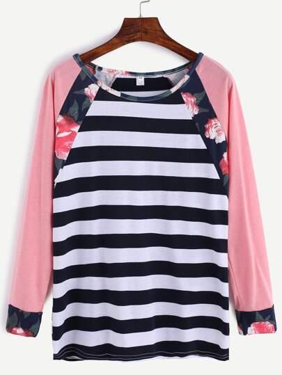 Contrast Raglan Sleeve Striped T-Shirt