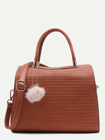 Brown Pom Pom Embossed PU Bowling Bag
