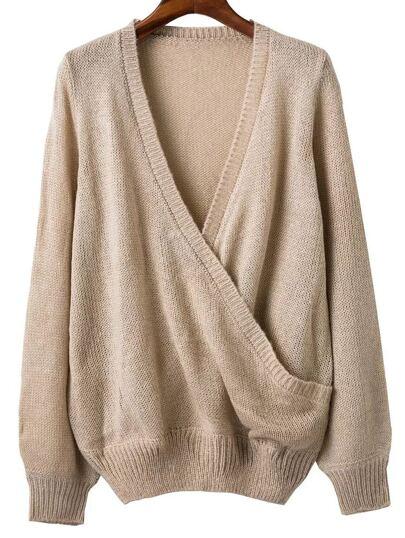 Khaki Ribbed Trim V Neck Wrap Sweater