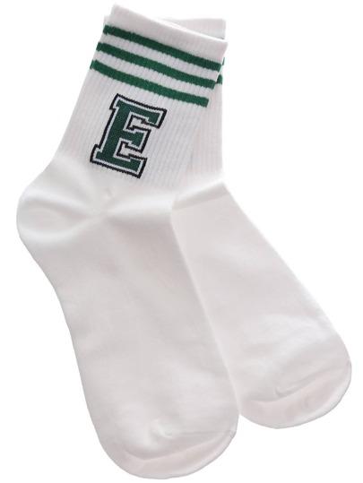 Green Letter Stripe Varsity Socks
