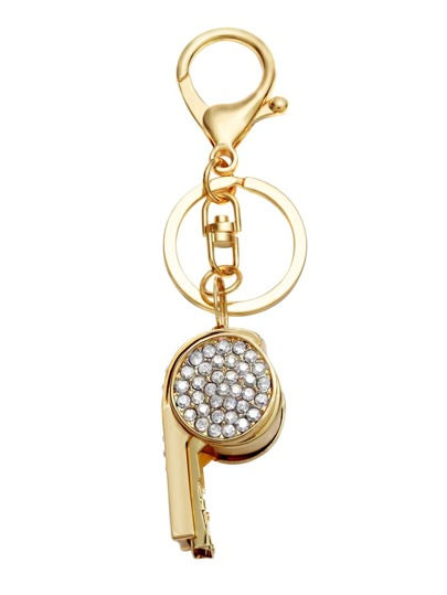 Gold Plated Rhinestone Whistle Keychain
