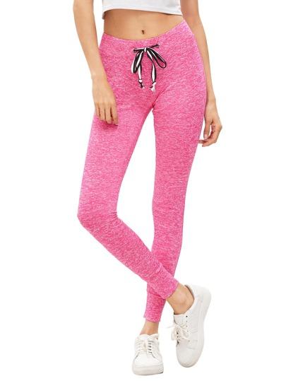 Pantalones deportivos de la cintura del lazo del color de rosa caliente