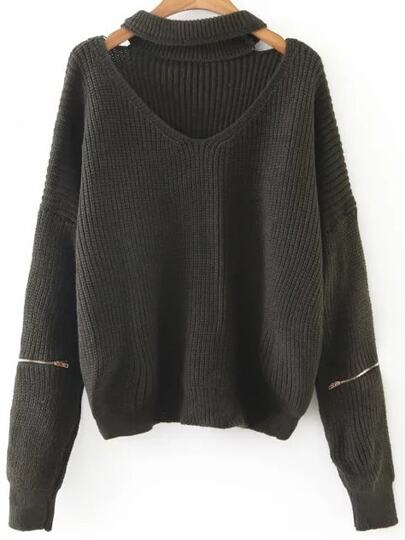 Dark Green Choker V Neck Zipper Sleeve Sweater