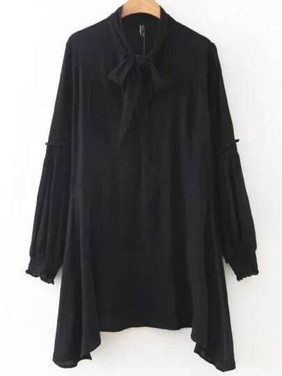 Black Tie Neck Long Sleeve Asymmetrical Hem Dress