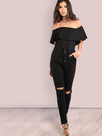 Off The Shoulder Shoulder Frill Cutout Knee Jumpsuit BLACK