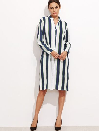 Contrast Vertical Striped Slit Side Shirt Dress
