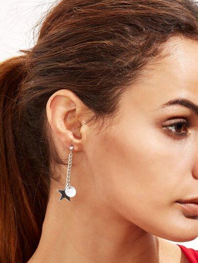 Boucles d'oreilles asymétrique forme en étoile métallique
