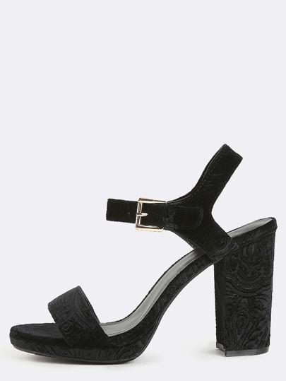 Embossed Velvet Chunky Heels BLACK