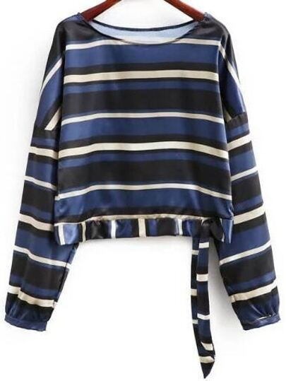 Multicolor Striped Print Tie Blouse