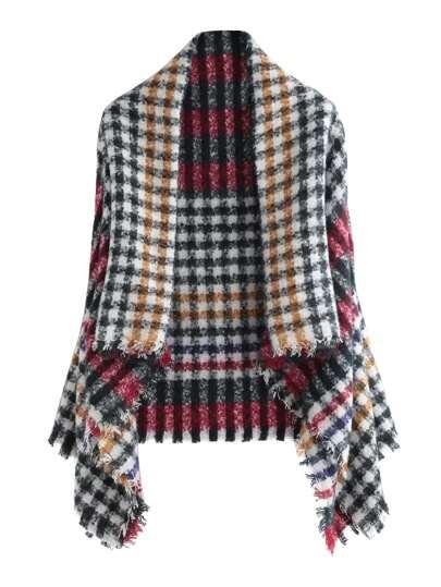 Многоцветный клетчатый шарф-накидка