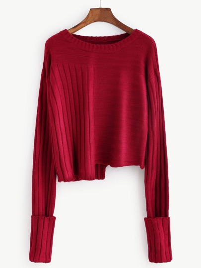 Burgundy Mixed Ribbed Knit Asymmetric Sweater