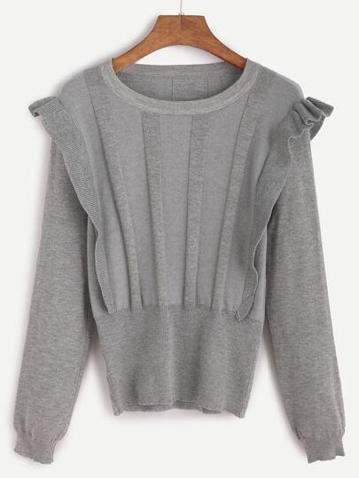 Jersey ribete con volantes - gris