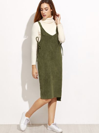 Army Green Slit Side High Low Overall Dress