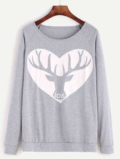 Grey Cartoon Print Raglan Sleeve Sweatshirt