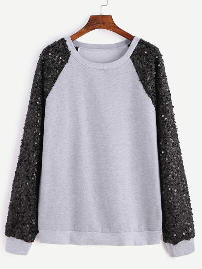 Grey Contrast Raglan Sleeve Sequin Embellished Sweatshirt