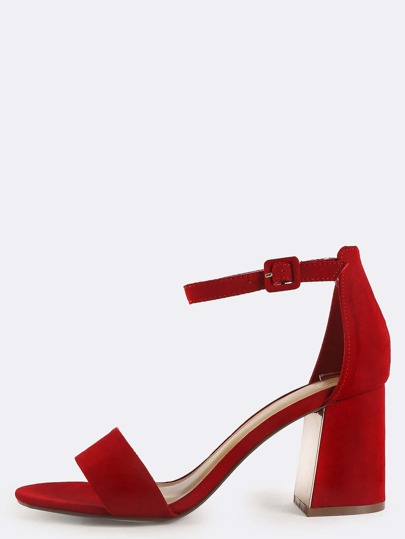 Suede Open Toe Flare Heels RED