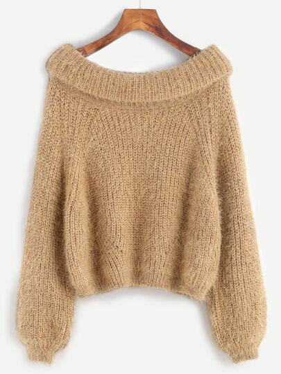 Falten Pullover Boot-Auschnitt-khaki