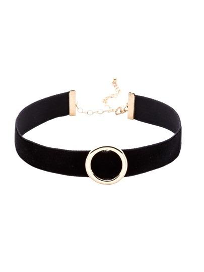 Black Hollow Circle Metal Choker Necklace