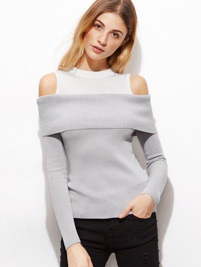 Contrast Open Shoulder Jersey Sweater