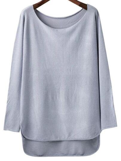 Grey Scoop Neck Dip Hem Knitwear
