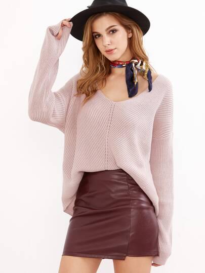 Jersey con manga dolman y escote V - rosa