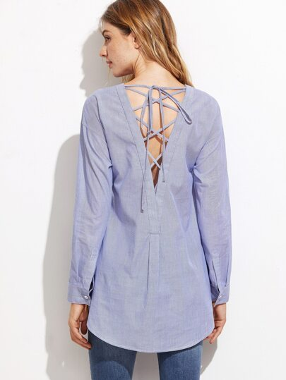 Blue Vertical Striped Lace Up V Back High Low Blouse