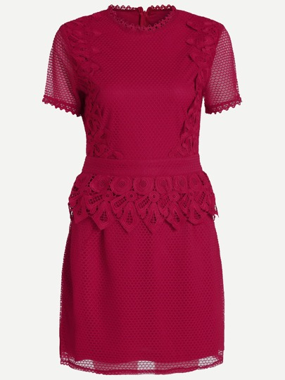 Hot Pink Lace Trim Short Sleeve Appliques Peplum Dress