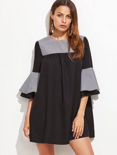 Black Contrast Checkered Neck Bell Sleeve Tent Dress