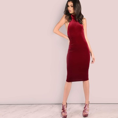 Backless Halter Tie Velvet Midi Dress BURGUNDY