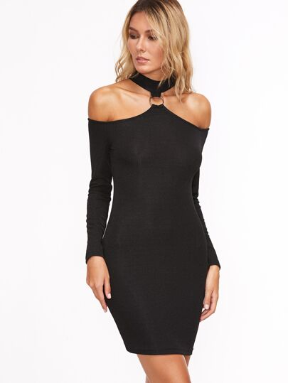 Black Ring Detail Cold Shoulder Bodycon Dress