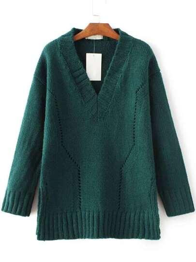 Dark Green V Neck Side Slit Sweater