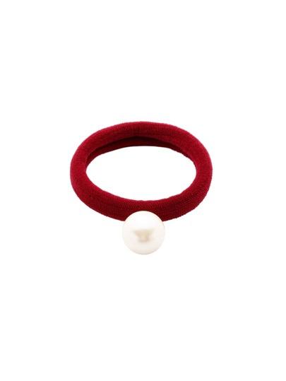 Red Faux Pearl Elastic Hair Tie