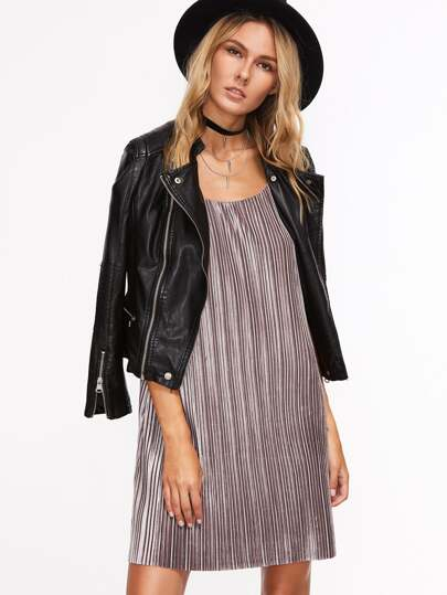 Brown Textured Stripe Strappy Cami Dress