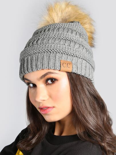 Tri Blend Pom Pom Beanie LIGHT GREY