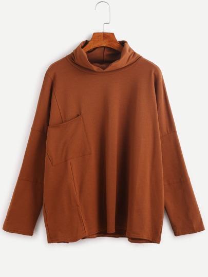Khaki Cowl Neck Drop Shoulder Pocket T-shirt