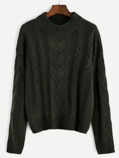 Army Green Drop Shoulder Cable Knit Sweater