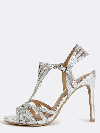 Metallic Glitter Cut Out Heels SILVER