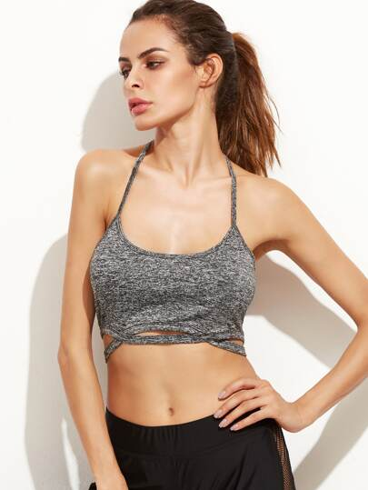 Active Marled Knit Cutout T Back Bralet
