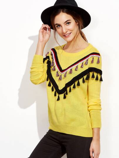 Yellow Tassel Trim Drop Shoulder Sweater