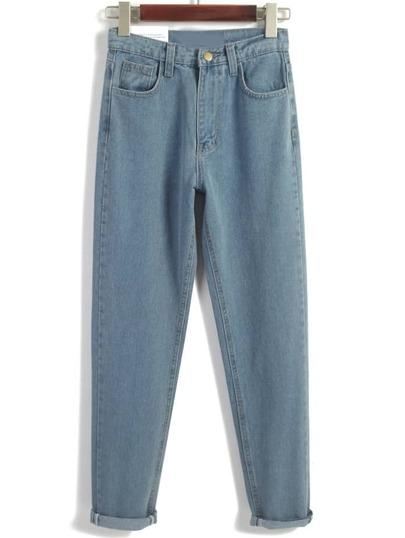 Pale Blue Turn Up Straight Denim Pants