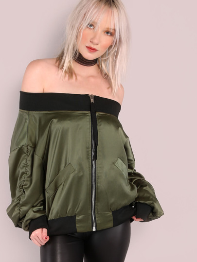 Off The Shoulder Zip Up Bomber OLIVE
