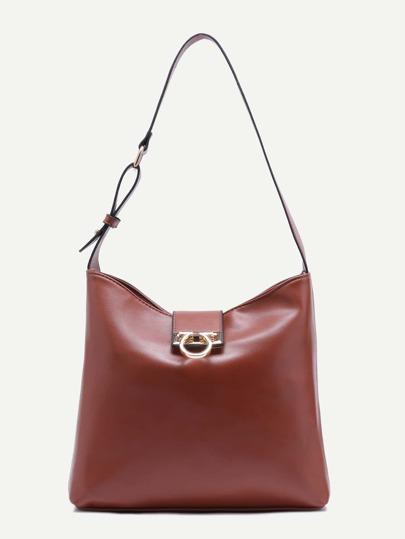 Brown Twistlock Closure Faux Leather Shoulder Bag