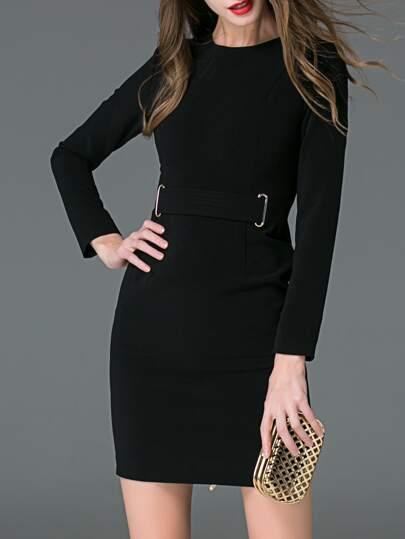 Vestido ajustado con cuello redondo - negro