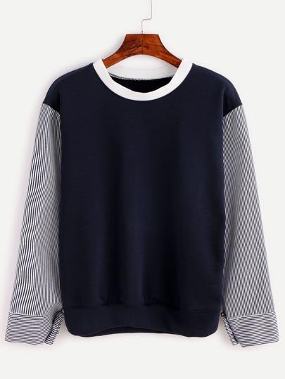 Navy Contrast Vertical Striped Sleeve Sweatshirt