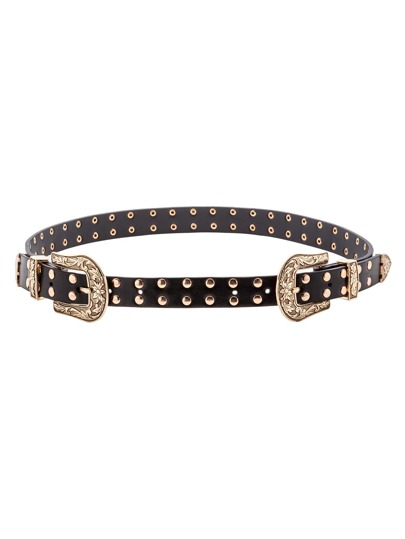 Gold Double Buckle Studded Faux Leather Belt
