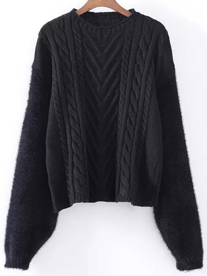 Black Cable Knit Drop Shoulder Mohair Sweater