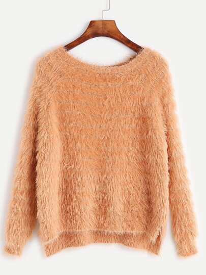 Raglan Sleeve Slit Side High Low Fuzzy Sweater