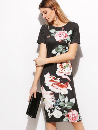 Black Rose Print Pencil Dress