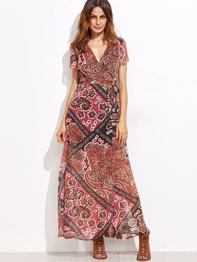 Tribal Print Self Tie Warp Dress