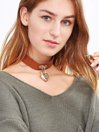 Brown Faux Leather Heart Lock Choker Necklace With Key